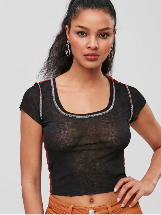 best Stitching Scoop Neck Top - BLACK M