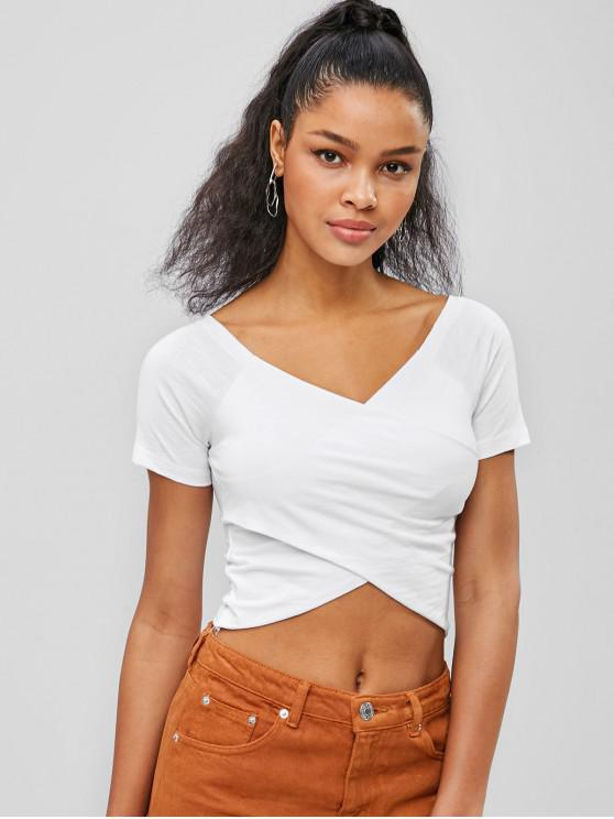 347f605329 27% OFF] [POPULAR] 2019 Cross Crop Top In WHITE | ZAFUL