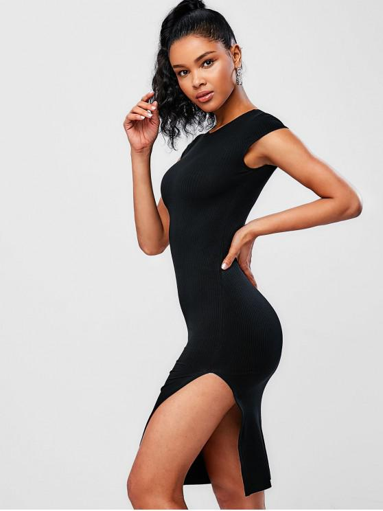 online Cap Sleeve Ribbed Bodycon Dress - BLACK ONE SIZE