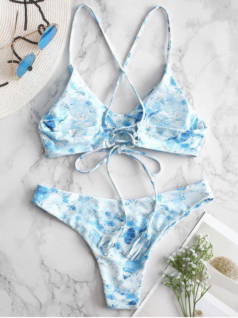 Bikini Criss Cross con Estampado de Mármol - Azul de Jeans  S Mobile