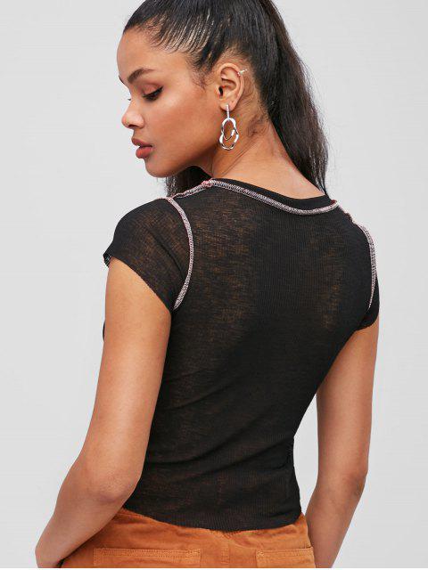 Top de cuello redondo con costuras - Negro M Mobile