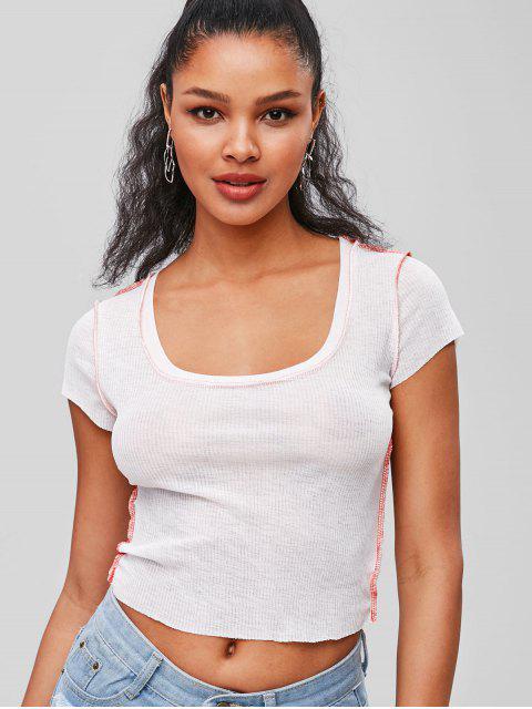 Top de cuello redondo con costuras - Blanco S Mobile
