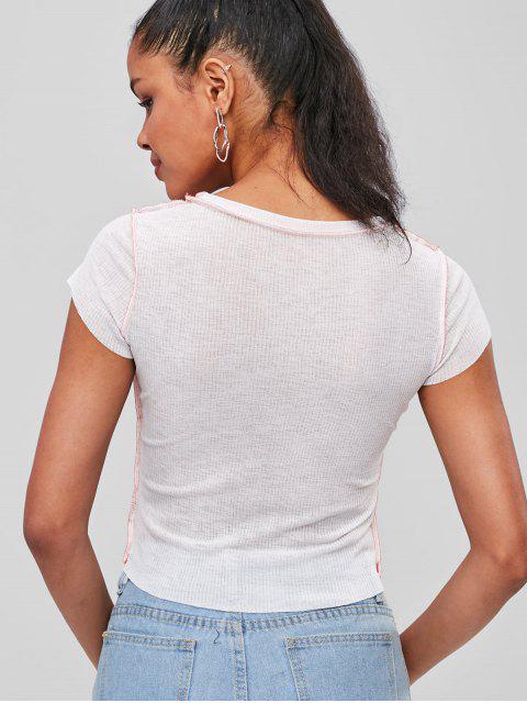 Top de cuello redondo con costuras - Blanco M Mobile
