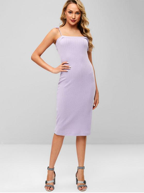 outfit ZAFUL Tied Straps Ribbed Sweater Dress - PURPLE M