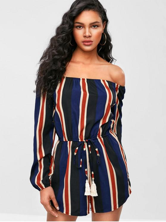 new ZAFUL Tassels Stripes Off Shoulder Romper - MIDNIGHT BLUE M