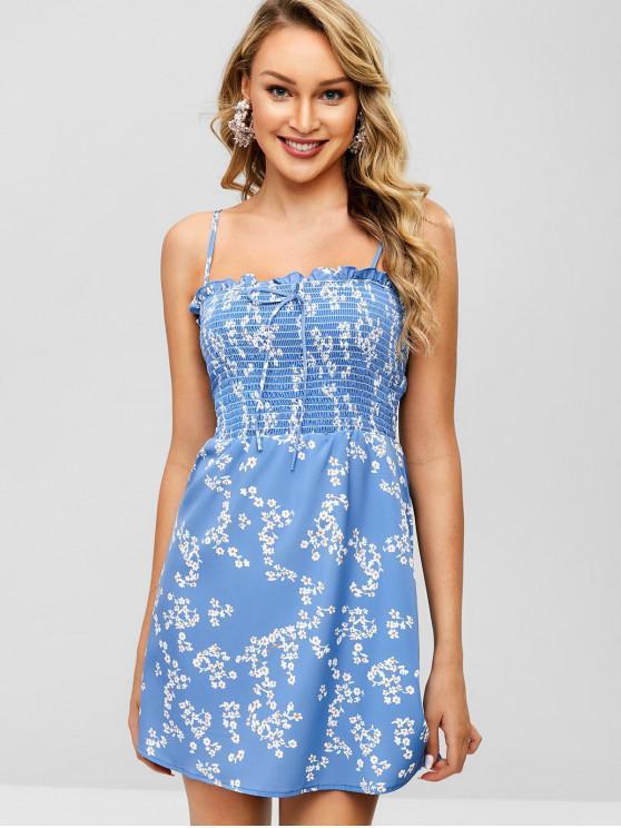fancy Smocked Ruffles Floral Print Cami Dress - BLUE S