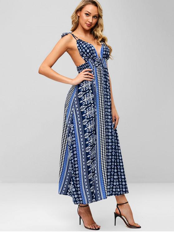 ZAFUL Robe imprimée à bretelles et dos ouvert - Bleu Lapis L