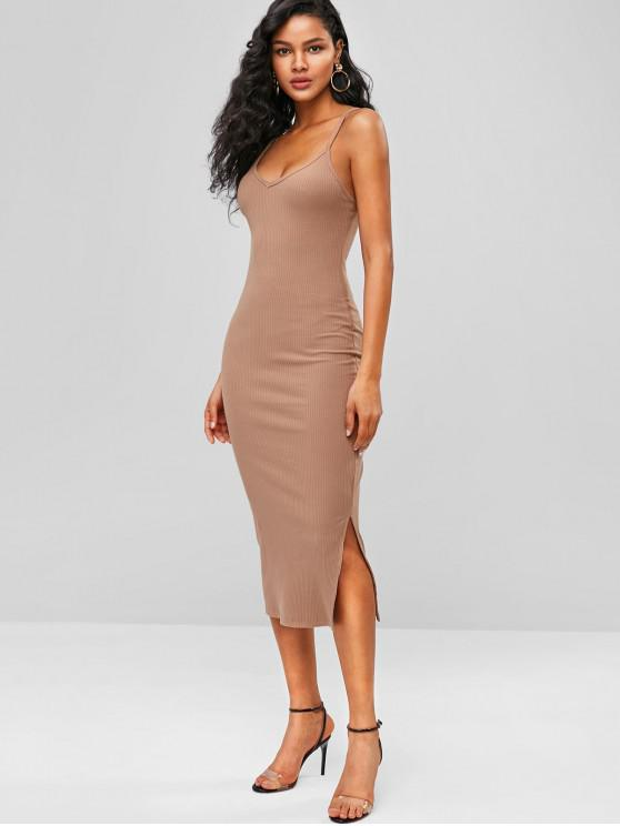 unique Ribbed Midi Slip Dress - TAN ONE SIZE