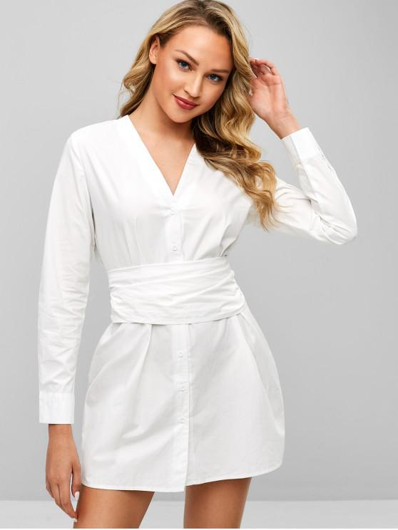 women ZAFUL V Neck Tie Waist Belt Shirt Dress - MILK WHITE S