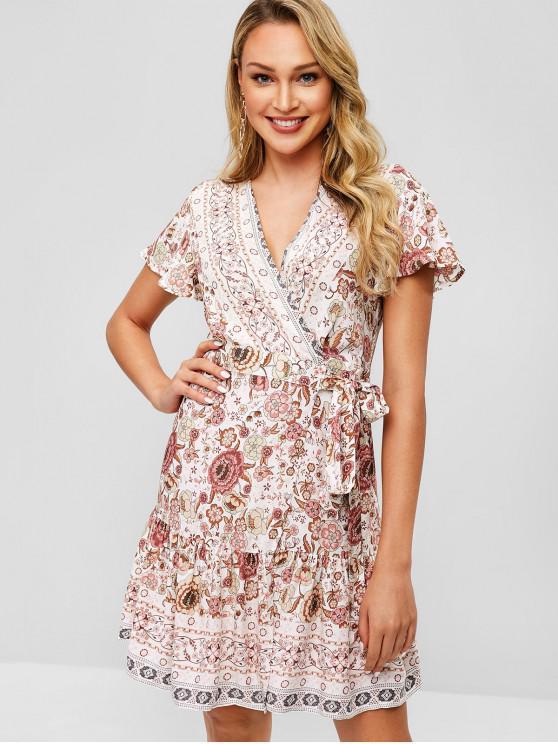 sale Short Sleeves Floral Print Wrap Dress - MULTI L