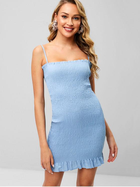 Gerafftes Figurbetontes Rüschen-Kleid - Kristal Blau M
