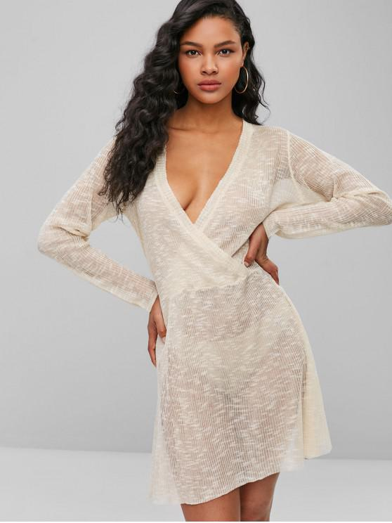 outfit ZAFUL Ribbed Surplice Sweater Dress - BEIGE L