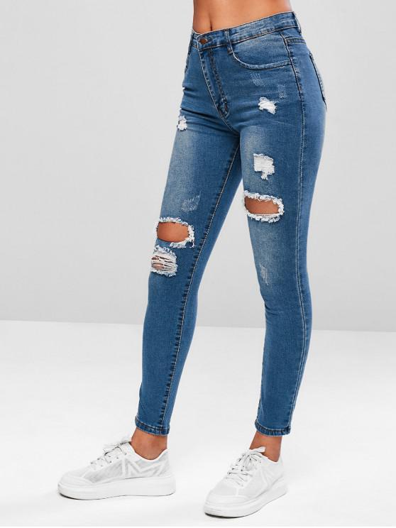lady Ripped Skinny Zipper Fly Jeans - DENIM BLUE L
