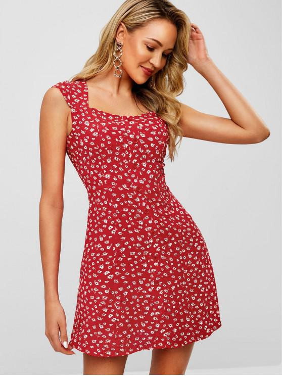unique Buttons Embellished Floral Print Flare Dress - RED M