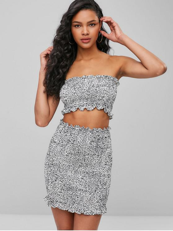 trendy ZAFUL Dots Smocked Bandeau Top And Skirt Set - MILK WHITE L