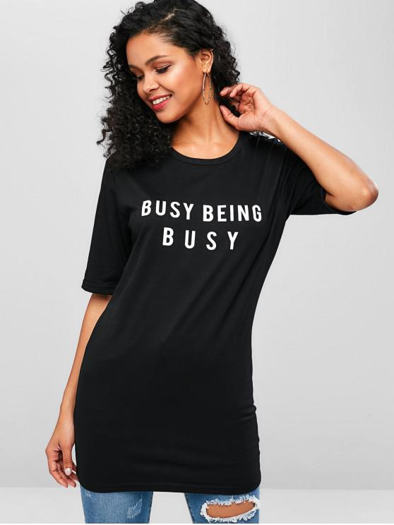 unique Busy Being Graphic Long T-shirt - BLACK S