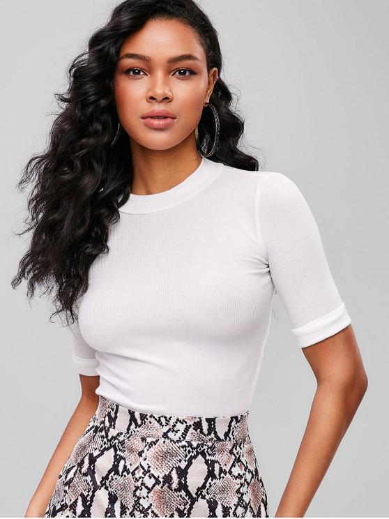 lady Mock Neck Cuffed Sleeve T-shirt - WHITE S