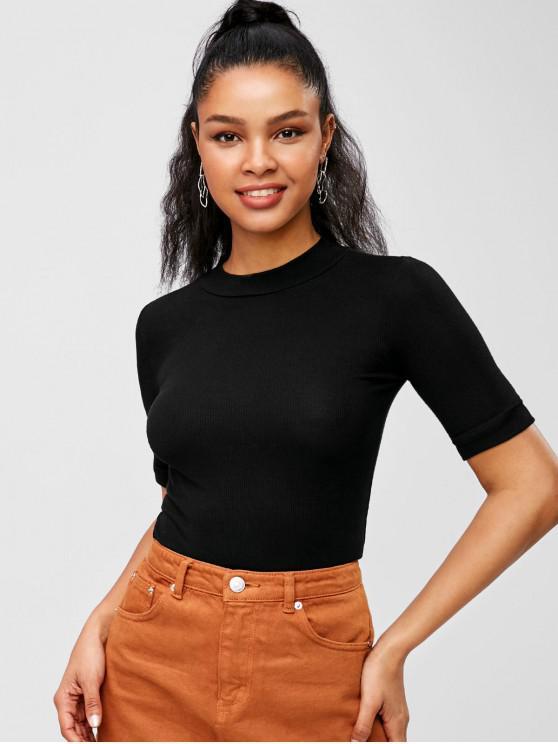 hot Mock Neck Cuffed Sleeve T-shirt - BLACK S