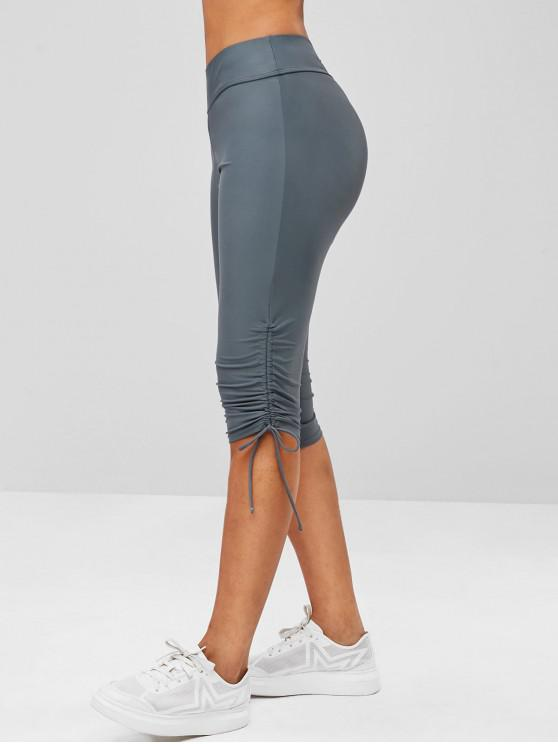online Ruched Biker Capri Cycling Tights Leggings - SLATE GRAY M
