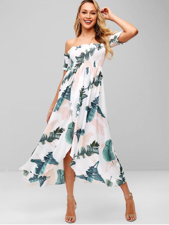 trendy Palm Off Shoulder Smocked Tulip Dress - WHITE L
