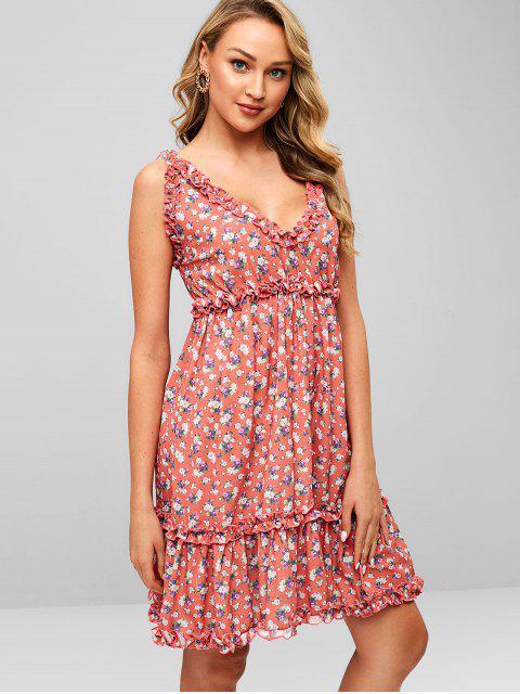 fashion ZAFUL Ruffles Floral A Line Dress - BEAN RED M Mobile