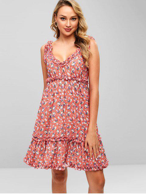 ZAFUL Ruffles Floral un vestido de línea - Rojo Frijol L Mobile