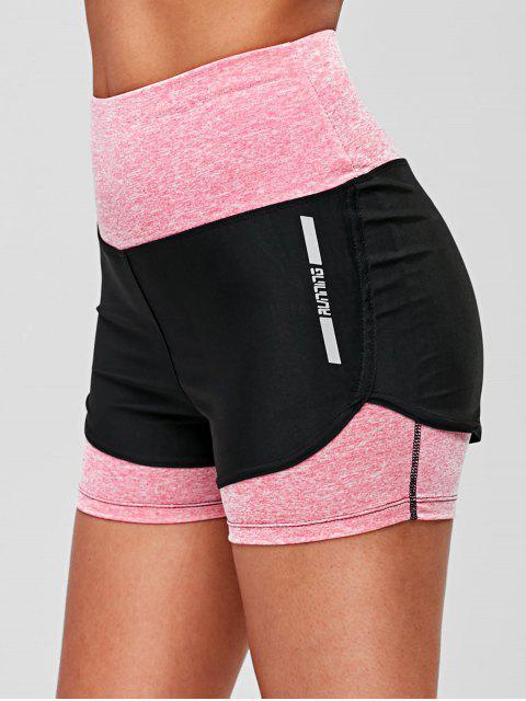 ladies Reflective Letter Color Block Shorts - BLACK S Mobile
