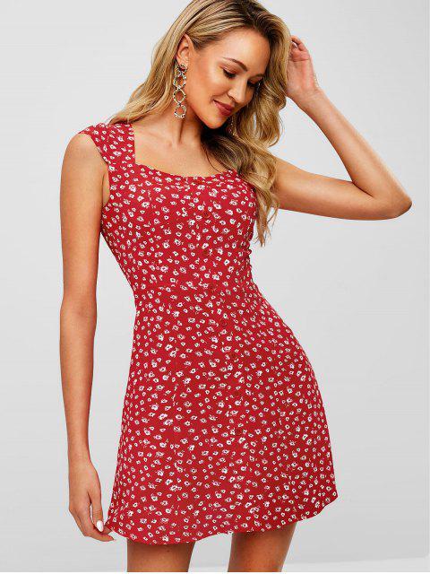 Robe Evasée Fleurie Imprimée Embellie de Boutons - Rouge M Mobile