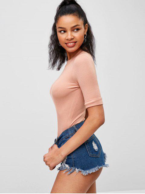 Cuello falso camiseta manga corta - Rosado S Mobile