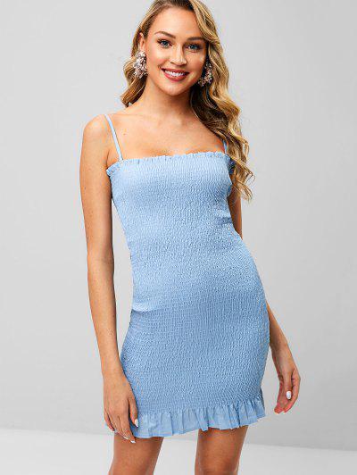 bd375201edff Ruffles Shirred Bodycon Dress - Blu Castello M ...