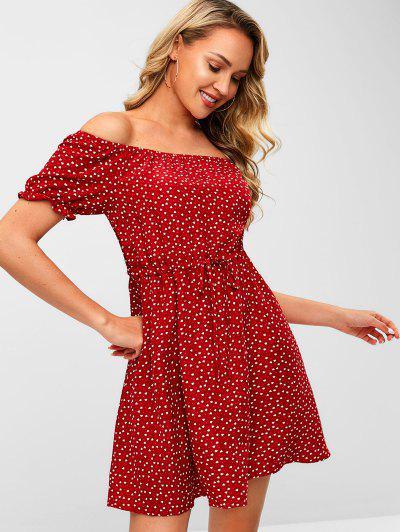 ca66775a9161 ZAFUL Heart Off Shoulder Valentine Dress - Cherry Red - Cherry Red L