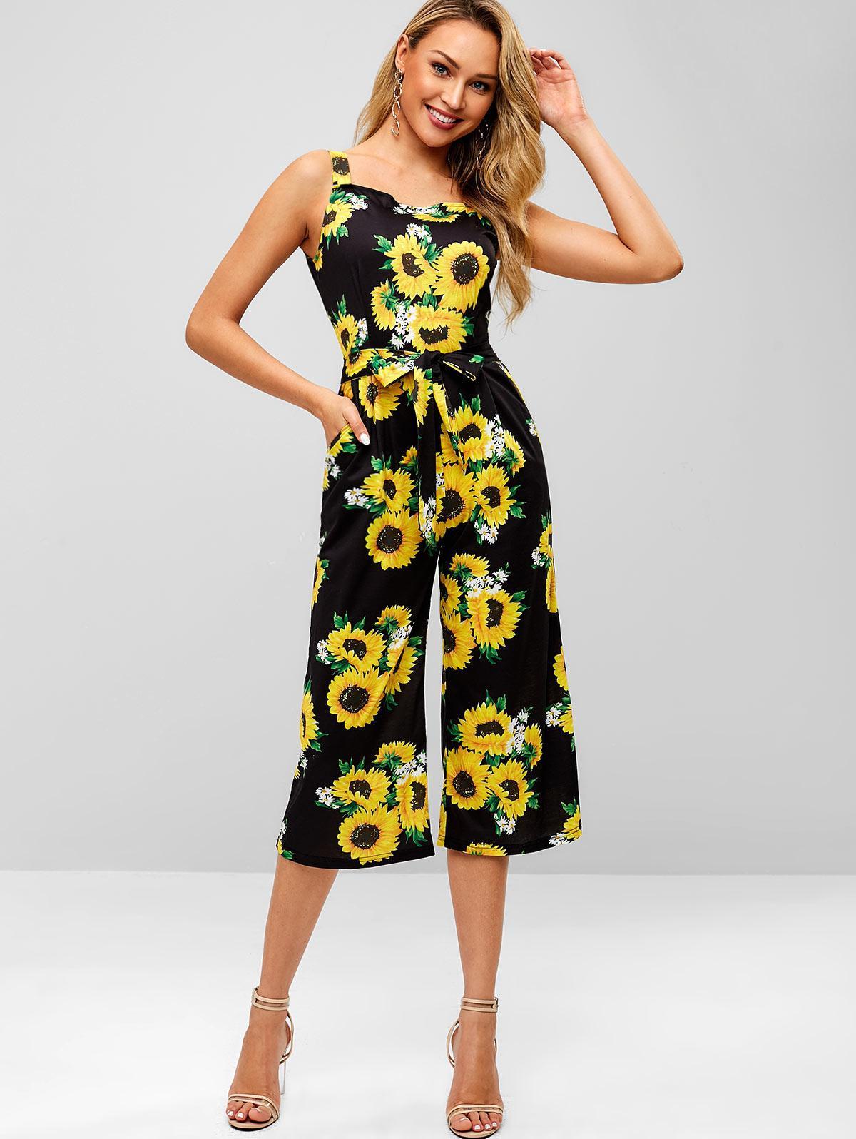 ZAFUL Sunflower Cropped Wide Leg Jumpsuit, Black