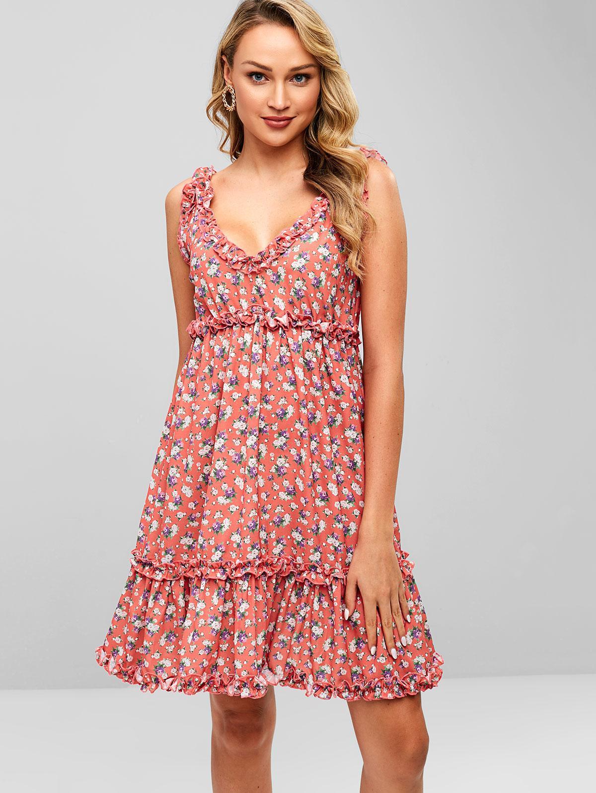 ZAFUL Ruffles Floral A Line Dress, Bean red