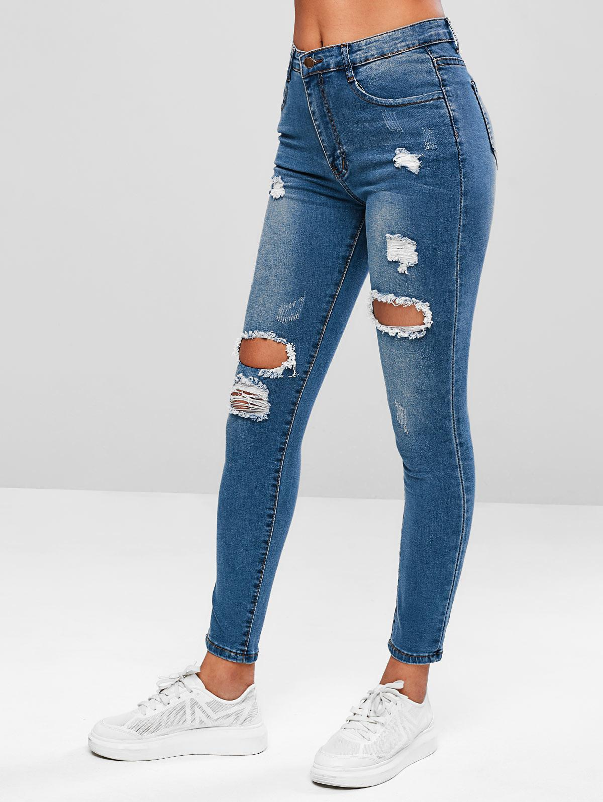 Ripped Skinny Zipper Fly Jeans thumbnail