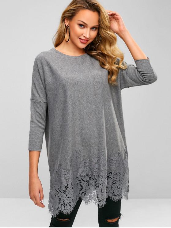 women Lace Panel Scalloped Mini Dress - GRAY M