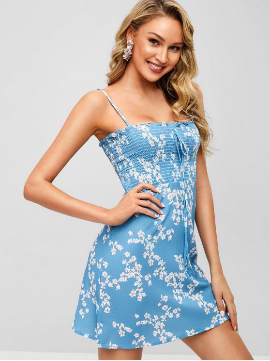 Robe d'été à fleurs froncée - Bleu Ciel S