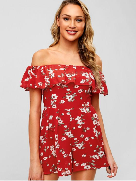 online Floral Off The Shoulder Chiffon Romper - RUBY RED L
