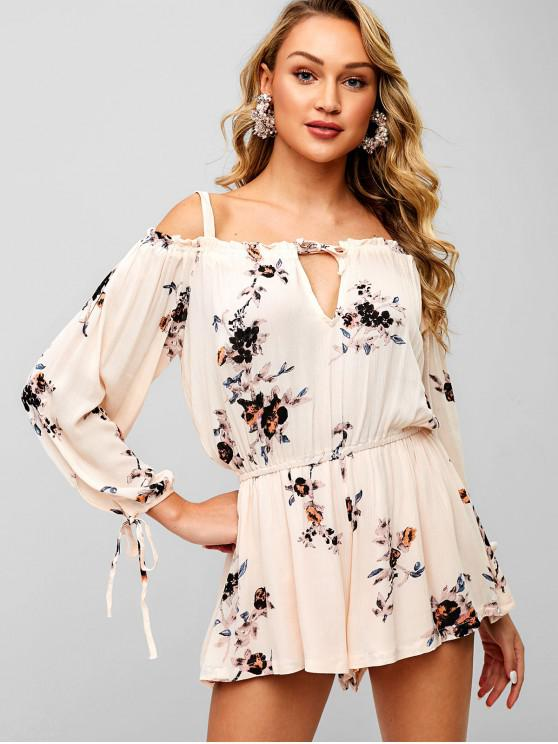 trendy Floral Print Wide Leg Cami Romper - BLANCHED ALMOND M