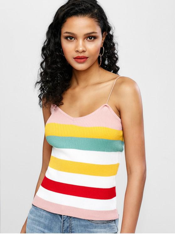 best Ribbed Stripes Knit Tank Top - MULTI ONE SIZE
