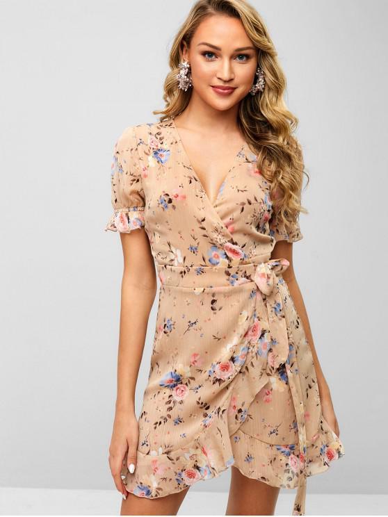 buy Floral Flounce Wrap Dress - TAN S