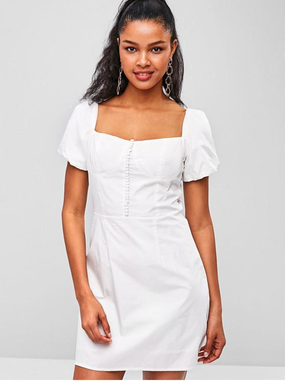 outfits Tie Square Collar Dress - WHITE L