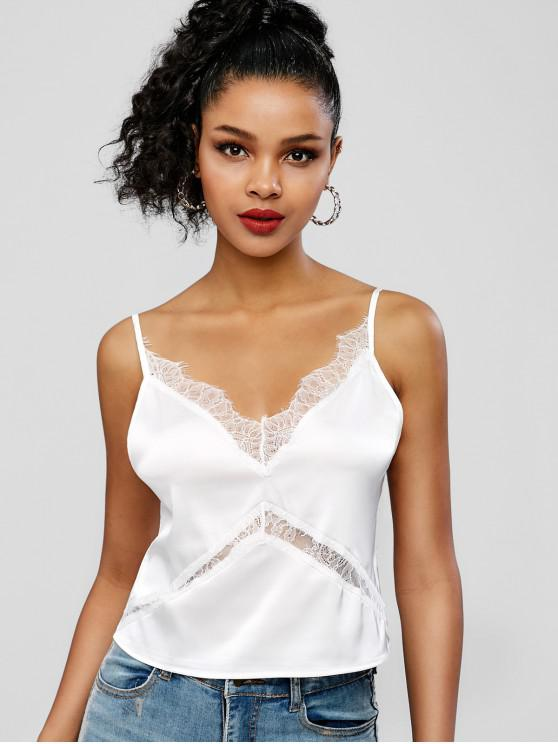 buy Lace Insert Crop Cami Top - WHITE M