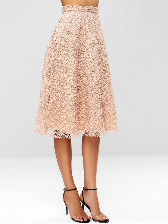 unique Lace Overlay Midi Skirt - PINK M