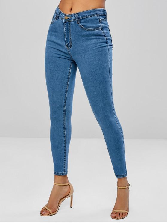 fancy Skinny Zipper Fly Jeans - DENIM BLUE S