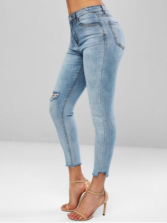 outfit Ripped Bleached Frayed Hem Jeans - JEANS BLUE L