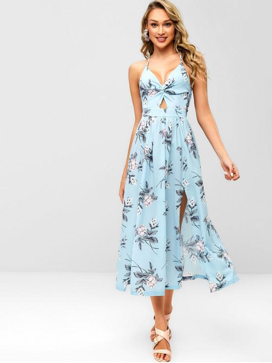 women Floral Slit Twist Maxi Dress - LIGHT BLUE L