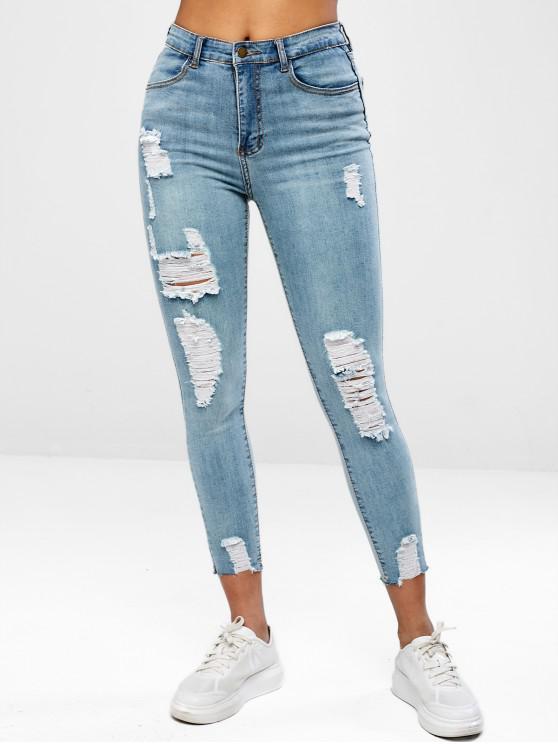 shops Ripped Raw Hem Jeans - DENIM BLUE XL