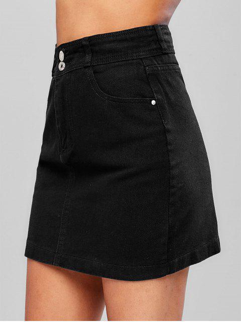 shop Zipper Fly Pocket Denim Skirt - BLACK XL Mobile