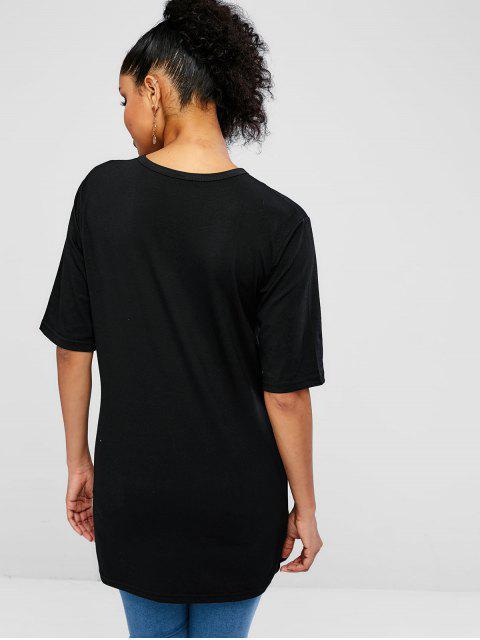 Camiseta de agradecimiento sin mangas con gráfico. - Negro S Mobile