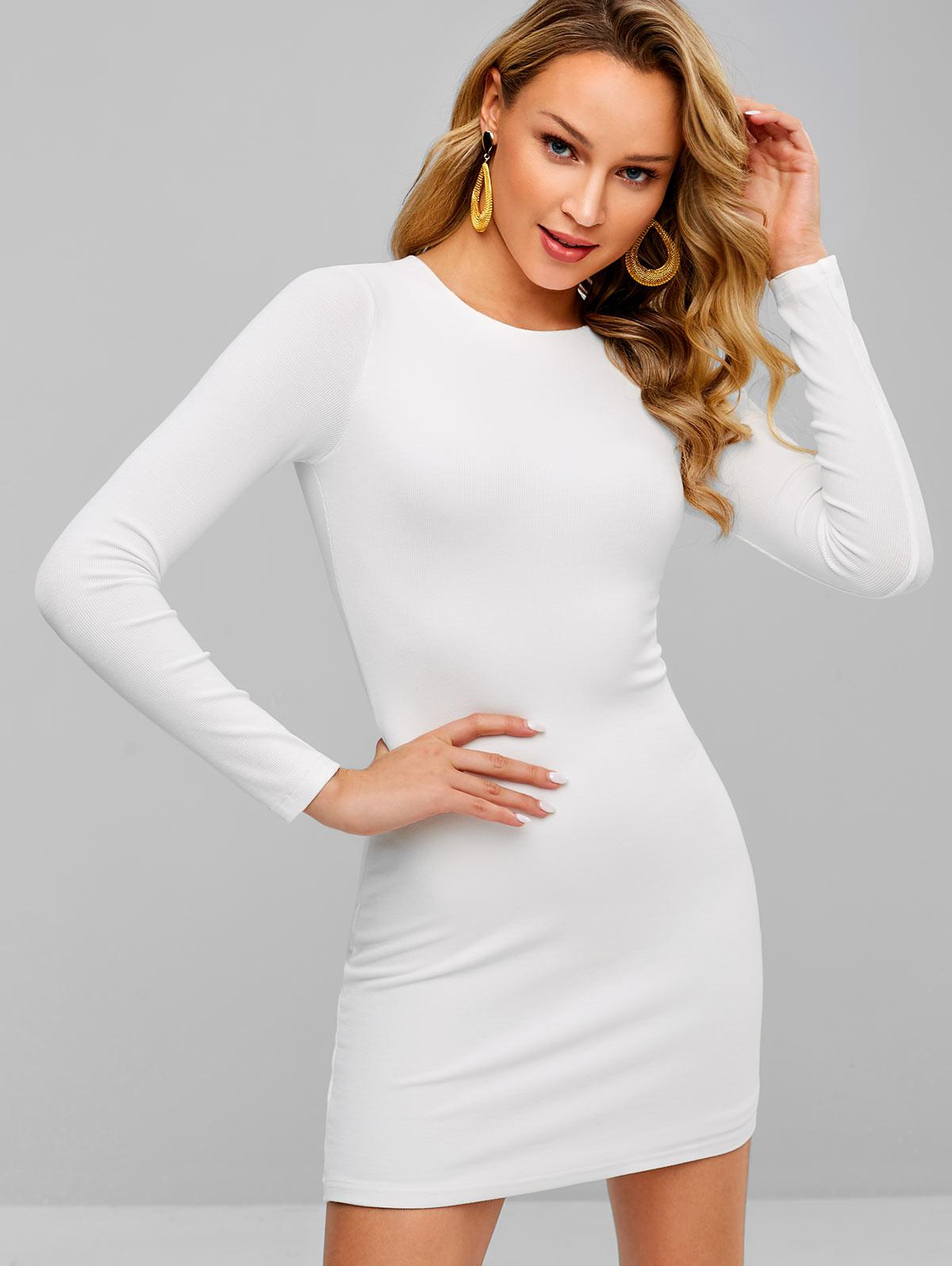 Double Lined Ribbed Bodycon Mini Dress